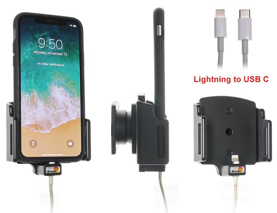 Obrázok produktu Nastaviteľný držiak pre Apple iPhone X/Xs/XR pre kábel/USB-C puzd